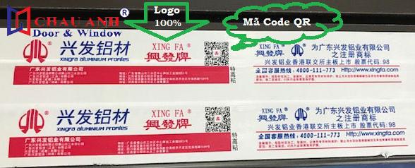 Tem chính hàng nhôm xingfa nhập khẩu có mã QR